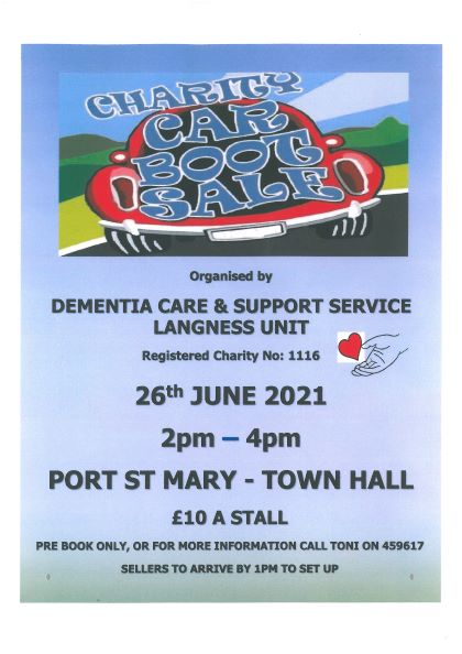 Car Boot Sale at PSM Town Hall 26th June 2 – 4. Book stalls on 459617